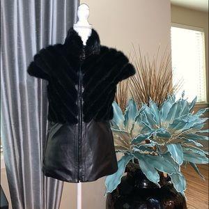 Esocco Italian leather mink vest